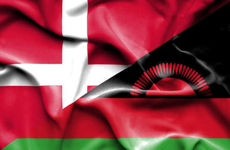 malawi: Waving flag of Malawi and Denmark