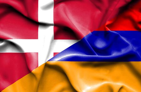 armenia: Waving flag of Armenia and Denmark