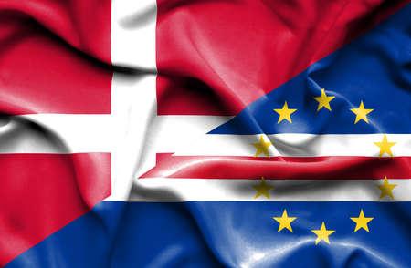 cape: Waving flag of Cape Verde and Denmark