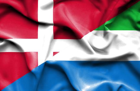 leone: Waving flag of Sierra Leone and Denmark