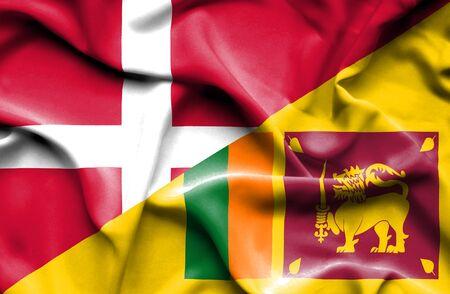 sri: Waving flag of Sri Lanka and Denmark Stock Photo
