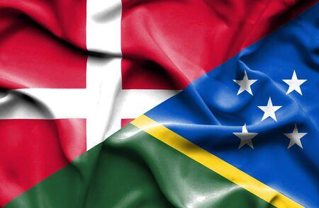 solomon: Waving flag of Solomon Islands and Denmark