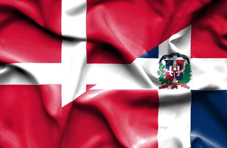 dominican republic: Waving flag of Dominican Republic and Denmark