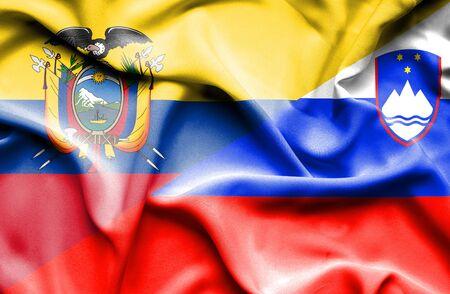 ecuador: Waving flag of Slovenia and Ecuador