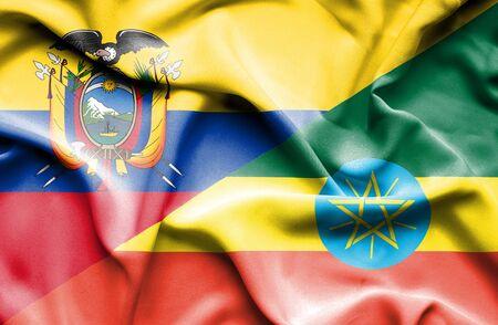 ecuador: Waving flag of Ethiopia and Ecuador