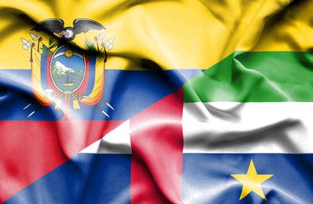 republic of ecuador: Waving flag of Central African Republic and Ecuador