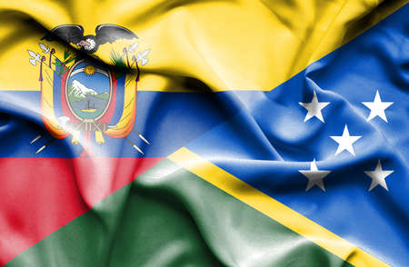 solomon: Waving flag of Solomon Islands and Ecuador Stock Photo