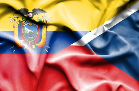 republic of ecuador: Waving flag of Czech Republic and Ecuador