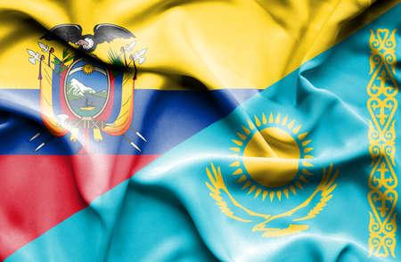 kazakhstan: Waving flag of Kazakhstan and Ecuador