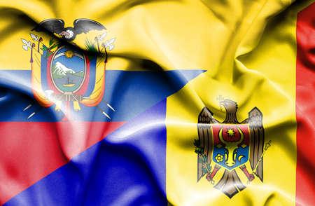 moldavia: Waving flag of Moldavia and Ecuador Stock Photo