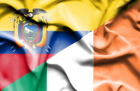 ecuador: Waving flag of Ireland and Ecuador Stock Photo