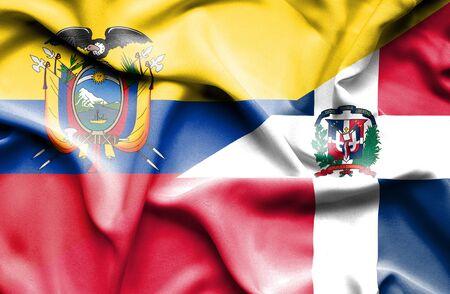 republic of ecuador: Waving flag of Dominican Republic and Ecuador