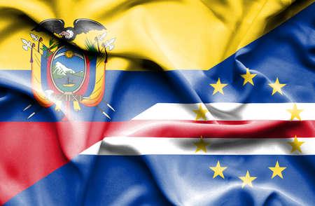 verde: Waving flag of Cape Verde and Ecuador