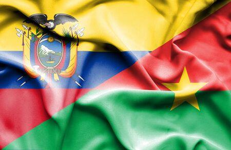 burkina faso: Waving flag of Burkina Faso and Ecuador