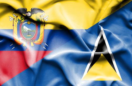 st lucia: Waving flag of St Lucia and Ecuador