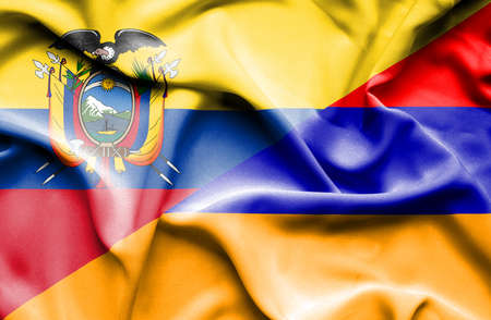 ecuador: Waving flag of Armenia and Ecuador Stock Photo