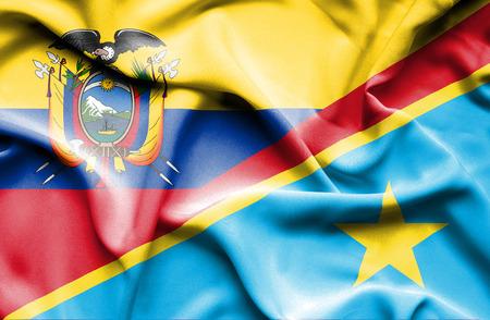republic of ecuador: Waving flag of Congo Democratic Republic and Ecuador