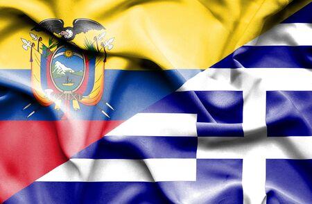 ecuador: Waving flag of Greece and Ecuador Stock Photo