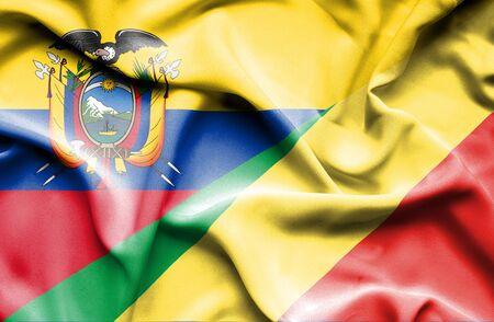 republic of ecuador: Waving flag of Congo Republic and Ecuador Stock Photo