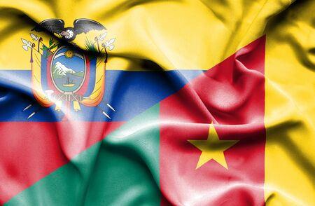 cameroonian: Waving flag of Cameroon and Ecuador