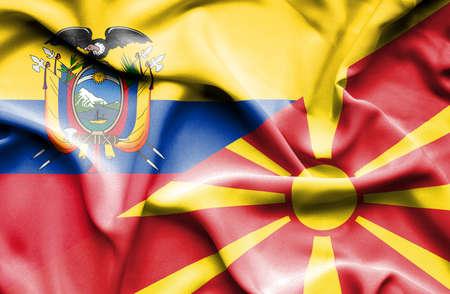 ecuador: Waving flag of Macedonia and Ecuador