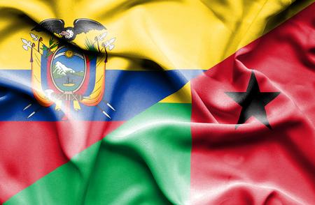 ecuador: Waving flag of Guinea Bissau and Ecuador