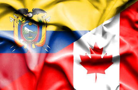 ecuador: Waving flag of Canada and Ecuador