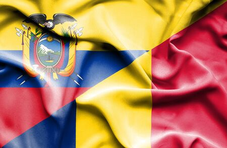 chad: Waving flag of Chad and Ecuador