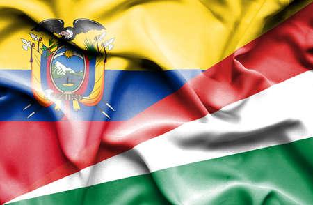 seychelles: Waving flag of Seychelles and Ecuador Stock Photo