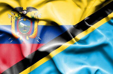 tanzania: Waving flag of Tanzania and Ecuador