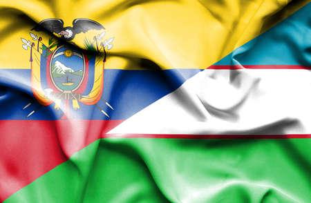 uzbekistan: Waving flag of Uzbekistan and Ecuador