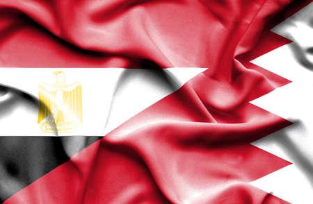 bahrain money: Waving flag of Bahrain and Egypt