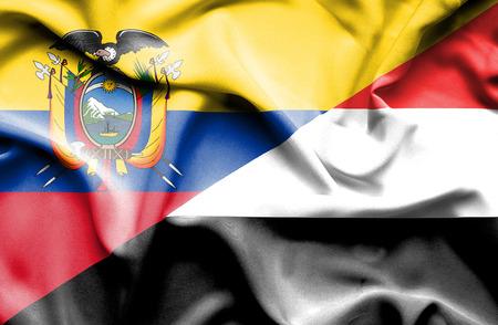 yemen: Waving flag of Yemen and Ecuador