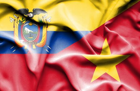 ecuador: Waving flag of Vietnam and Ecuador