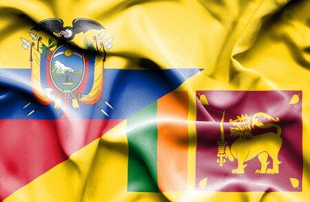 sri lanka: Waving flag of Sri Lanka and Ecuador