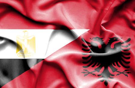 albania: Waving flag of Albania and Egypt