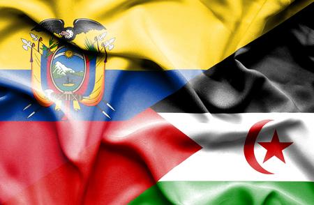 ecuador: Waving flag of Western Sahara and Ecuador