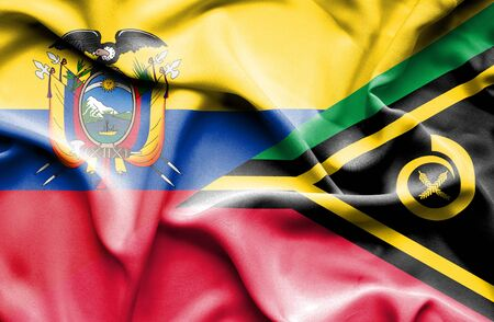 ecuador: Waving flag of Vanuatu and Ecuador