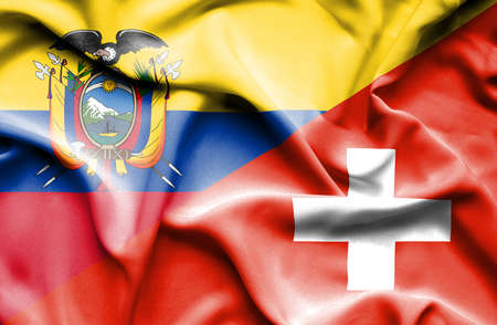 ecuador: Waving flag of Switzerland and Ecuador