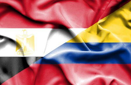 columbia: Waving flag of Columbia and Egypt
