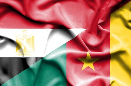 cameroon: Waving flag of Cameroon and Egypt