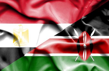 kenya: Waving flag of Kenya and Egypt Stock Photo