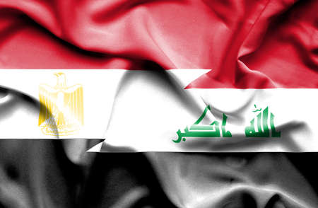 iraq money: Waving flag of Iraq and Egypt