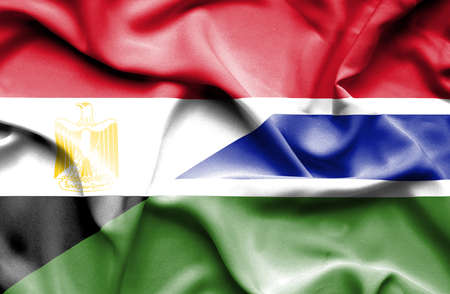 gambia: Waving flag of Gambia and Egypt