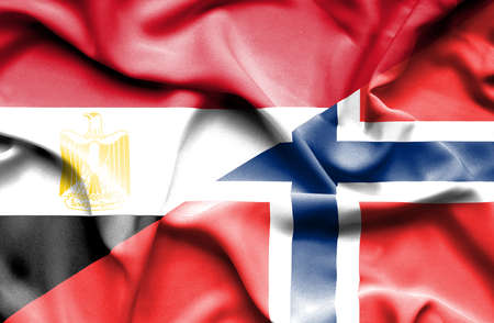 norway flag: Waving flag of Norway and Egypt