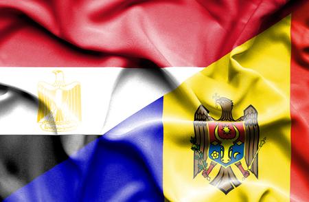 moldavia: Waving flag of Moldavia and Egypt
