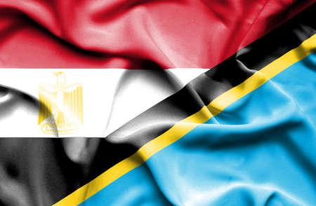 tanzania: Waving flag of Tanzania and Egypt