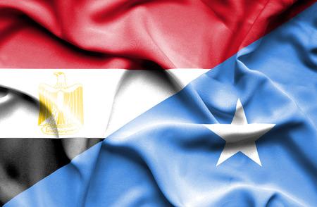 somalia: Waving flag of Somalia and Egypt