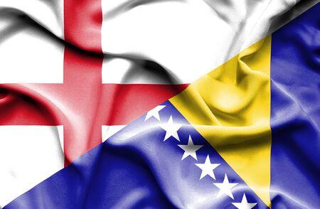herzegovina: Waving flag of Bosnia and Herzegovina and England