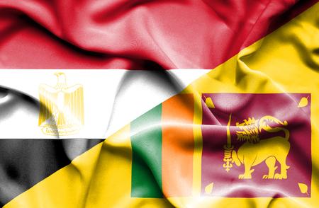 sri lanka: Waving flag of Sri Lanka and Egypt